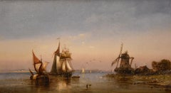 """Oil Painting by Charles John de Lacy """"Shipping in a Calm"""""""