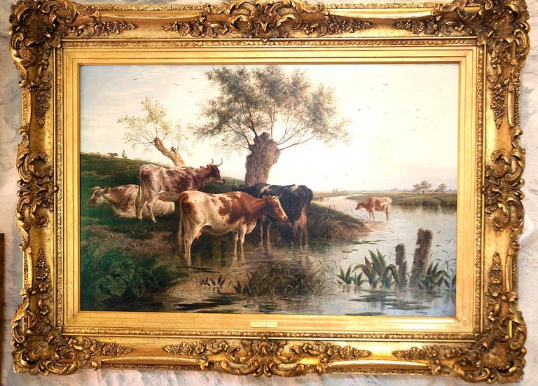 Cattle Watering An English Victorian Landscape 19th Century by Charles Jones - Painting by Charles Jones (b.1836)