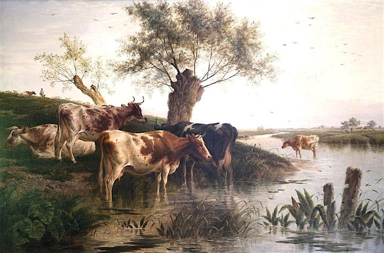 Charles Jones (b.1836) Animal Painting - Cattle Watering An English Victorian Landscape 19th Century by Charles Jones
