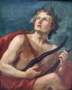 18th Century Natoire Painting of Apollo Semi-nude Playing a Lyre