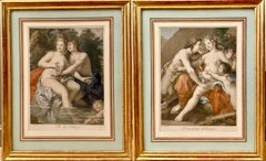 Pair of 18th Century French Hand Colored Engravings - Venus Aphrodithe Mythology