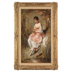Charles Joshua Chaplin 'French, 1825-1891' 'Girl with Bird's Nest' Oil on Canvas