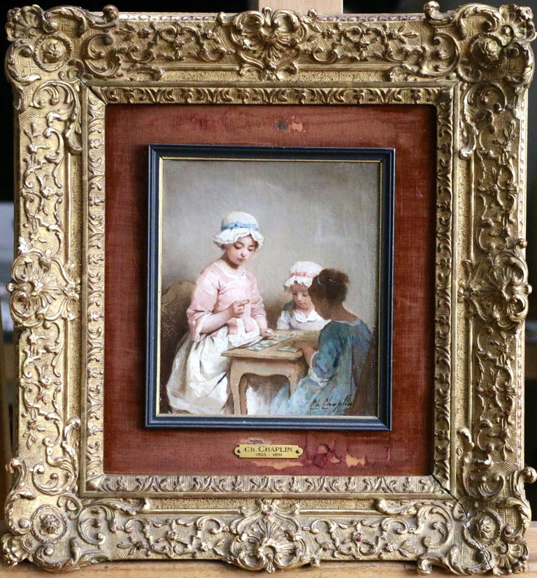 A Game of Chance - 19th Century Oil, Young Girls Figures in Interior by Chaplin - Painting by Charles Joshua Chaplin