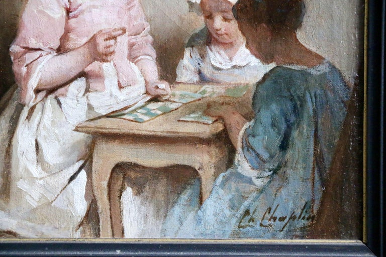 A Game of Chance - 19th Century Oil, Young Girls Figures in Interior by Chaplin - Impressionist Painting by Charles Joshua Chaplin