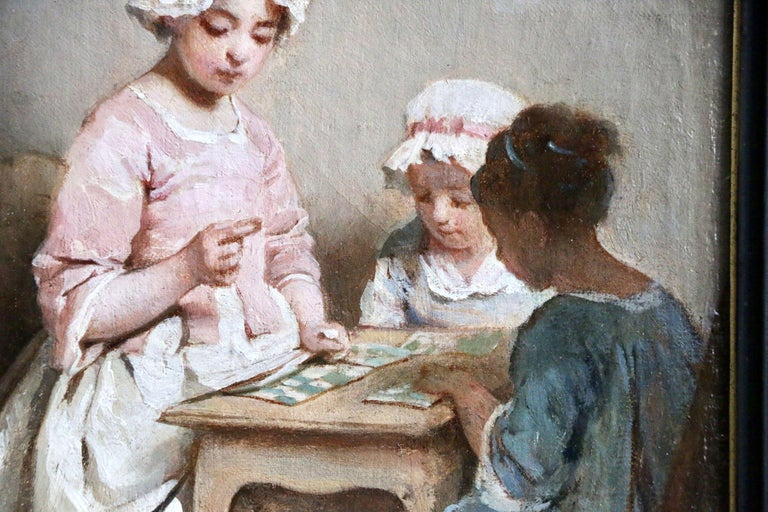 A Game of Chance - 19th Century Oil, Young Girls Figures in Interior by Chaplin - Gray Figurative Painting by Charles Joshua Chaplin