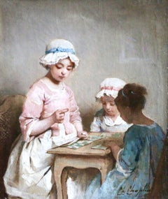 A Game of Chance - 19th Century Oil, Young Girls Figures in Interior by Chaplin