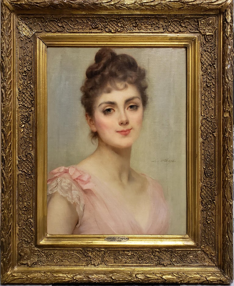 Beautiful Woman, The Coy Look - Painting by Charles Joshua Chaplin