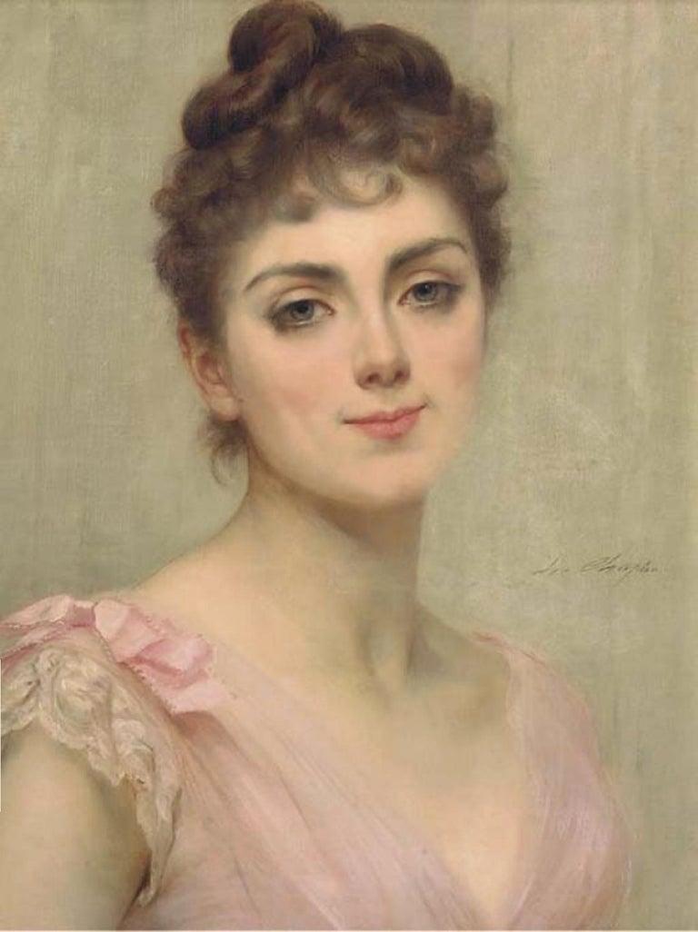Charles Joshua Chaplin Portrait Painting - Beautiful Woman, The Coy Look