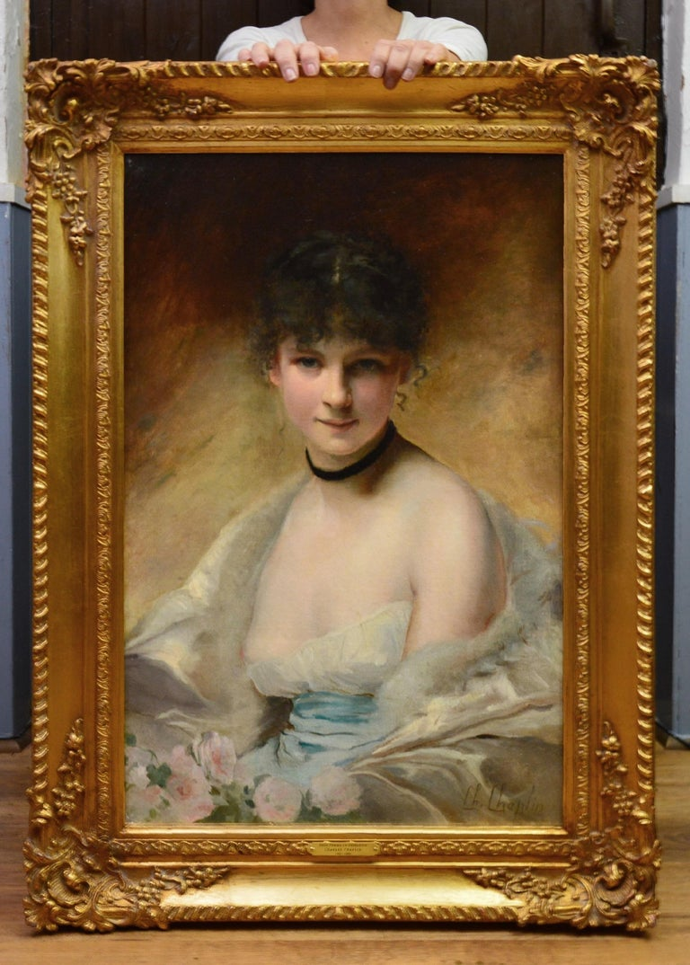 Belle Femme en Déshabillé - 19th Century French Portrait of Young Society Beauty - Painting by Charles Joshua Chaplin