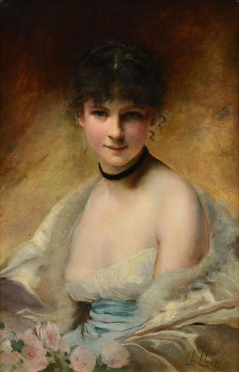 Belle Femme en Déshabillé - 19th Century French Portrait of Young Society Beauty - Academic Painting by Charles Joshua Chaplin