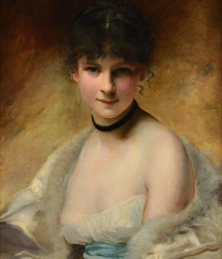 Belle Femme en Déshabillé - 19th Century French Portrait of Young Society Beauty - Brown Nude Painting by Charles Joshua Chaplin