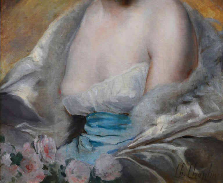 This is a large fine 19th century oil painting portrait of a young society beauty captured in semi-undress by the eminent French Academic painter Charles Joshua Chaplin (1825-1891). 'Belle Femme en Déshabillé' is signed by the artist and sold in a