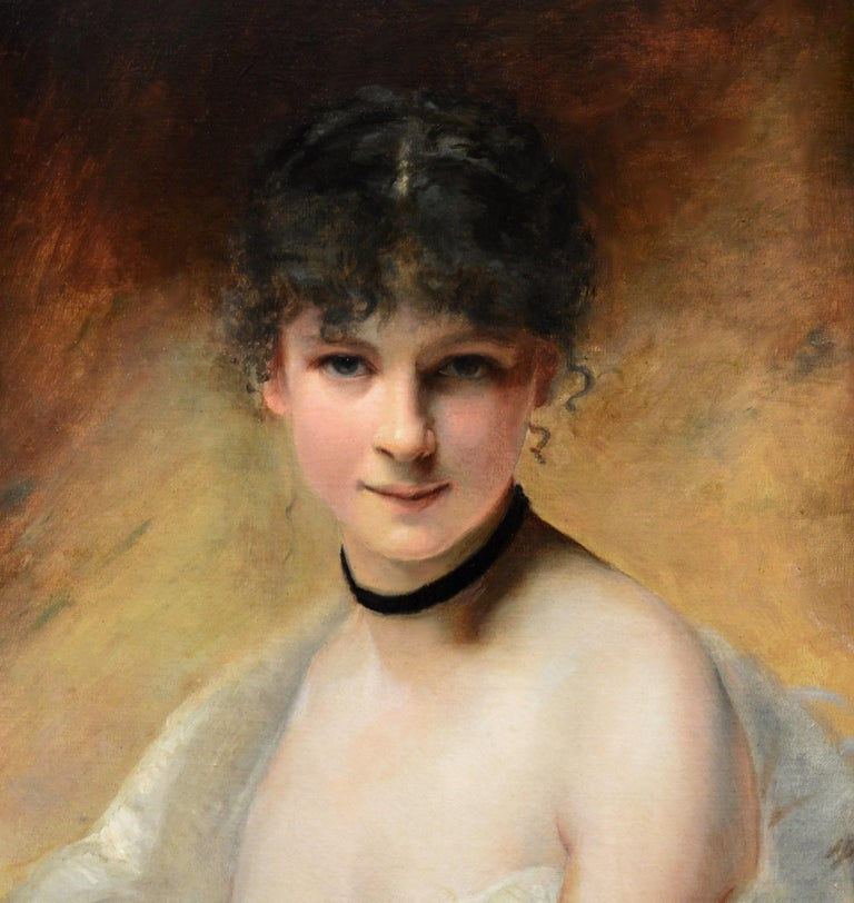 Belle Femme en Déshabillé - 19th Century French Portrait of Young Society Beauty For Sale 1