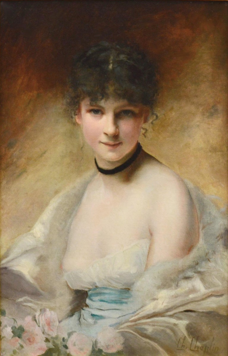 Belle Femme en Déshabillé - 19th Century French Salon Portrait of Society Beauty - Academic Painting by Charles Joshua Chaplin