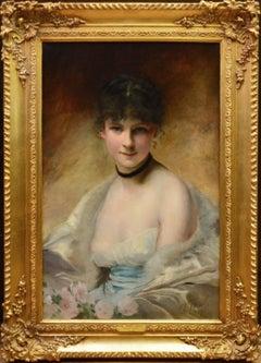 Belle Femme en Déshabillé - 19th Century French Salon Portrait of Society Beauty
