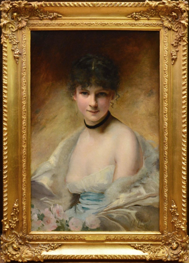 Charles Joshua Chaplin Nude Painting - Belle Femme en Déshabillé - 19th Century French Salon Portrait of Society Beauty