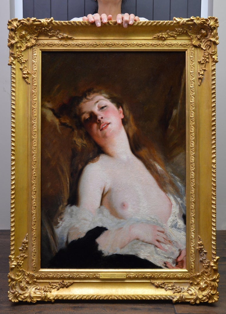 L'Extase - 19th Century French Portrait Oil Painting of Belle Epoque Nude - Brown Nude Painting by Charles Joshua Chaplin