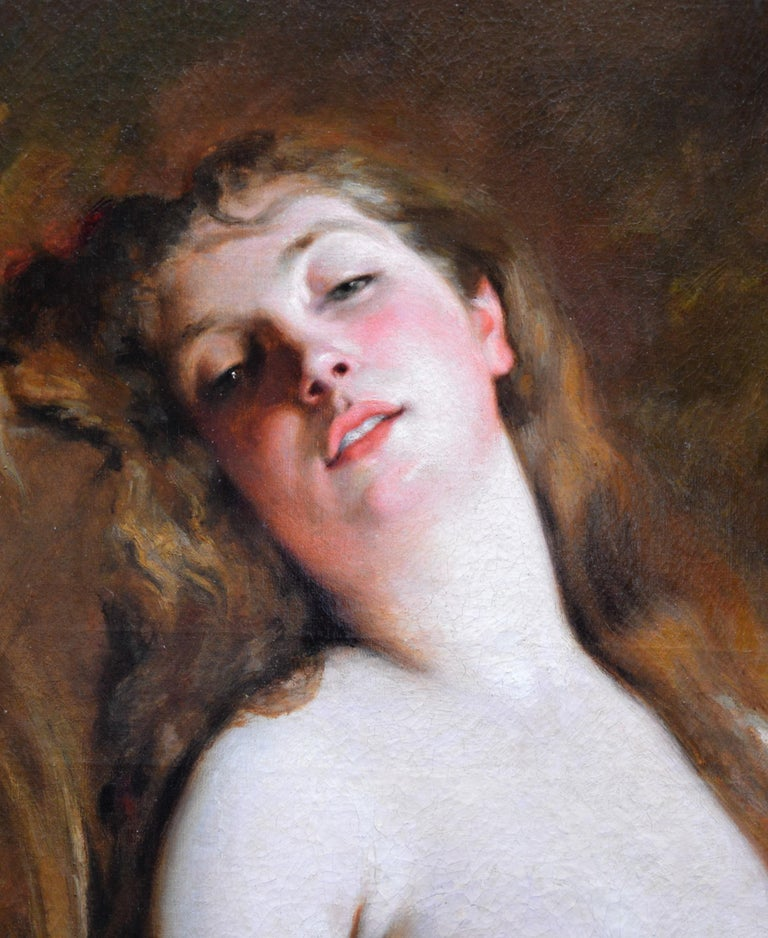 L'Extase - 19th Century French Portrait Oil Painting of Belle Epoque Nude For Sale 1