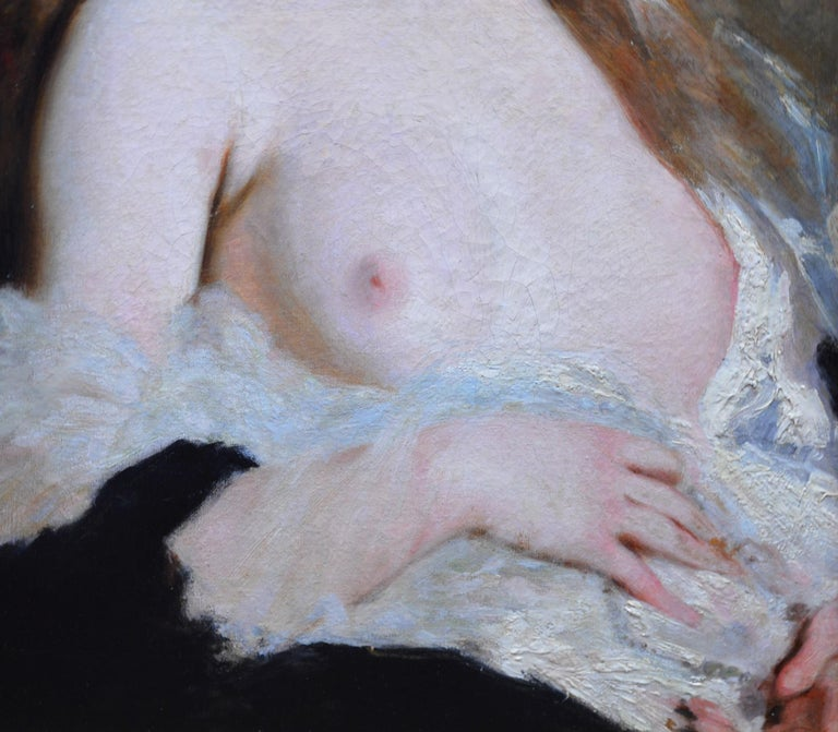 L'Extase - 19th Century French Portrait Oil Painting of Belle Epoque Nude For Sale 2