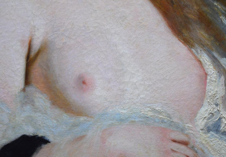 L'Extase - 19th Century French Portrait Oil Painting of Belle Epoque Nude For Sale 4