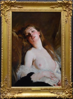 L'Extase - 19th Century French Portrait Oil Painting of Belle Epoque Nude