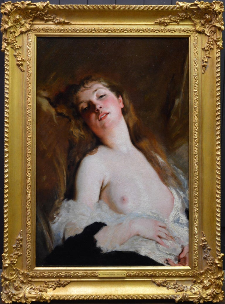 Charles Joshua Chaplin Nude Painting - L'Extase - 19th Century French Portrait Oil Painting of Belle Epoque Nude