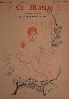 Portrait of Madame M.L. - Original Lithograph by Charles Joshua Chapli - 1884