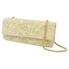 Charles Jourdan 1980s Pale Gold Satin & Embroidered Tinsel Lurex Shoulder Bag
