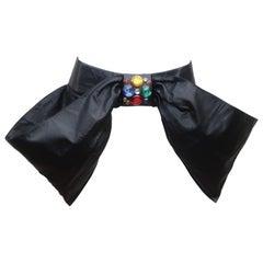 Charles Jourdan Black Leather Bejeweled Bow Belt, 1980's