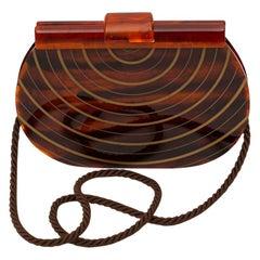 Charles Jourdan Brown Bakelite Evening Bag