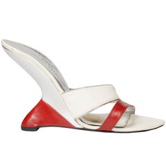 Charles Jourdan red leather sandals with plexiglass inverted wedge, c. 1969