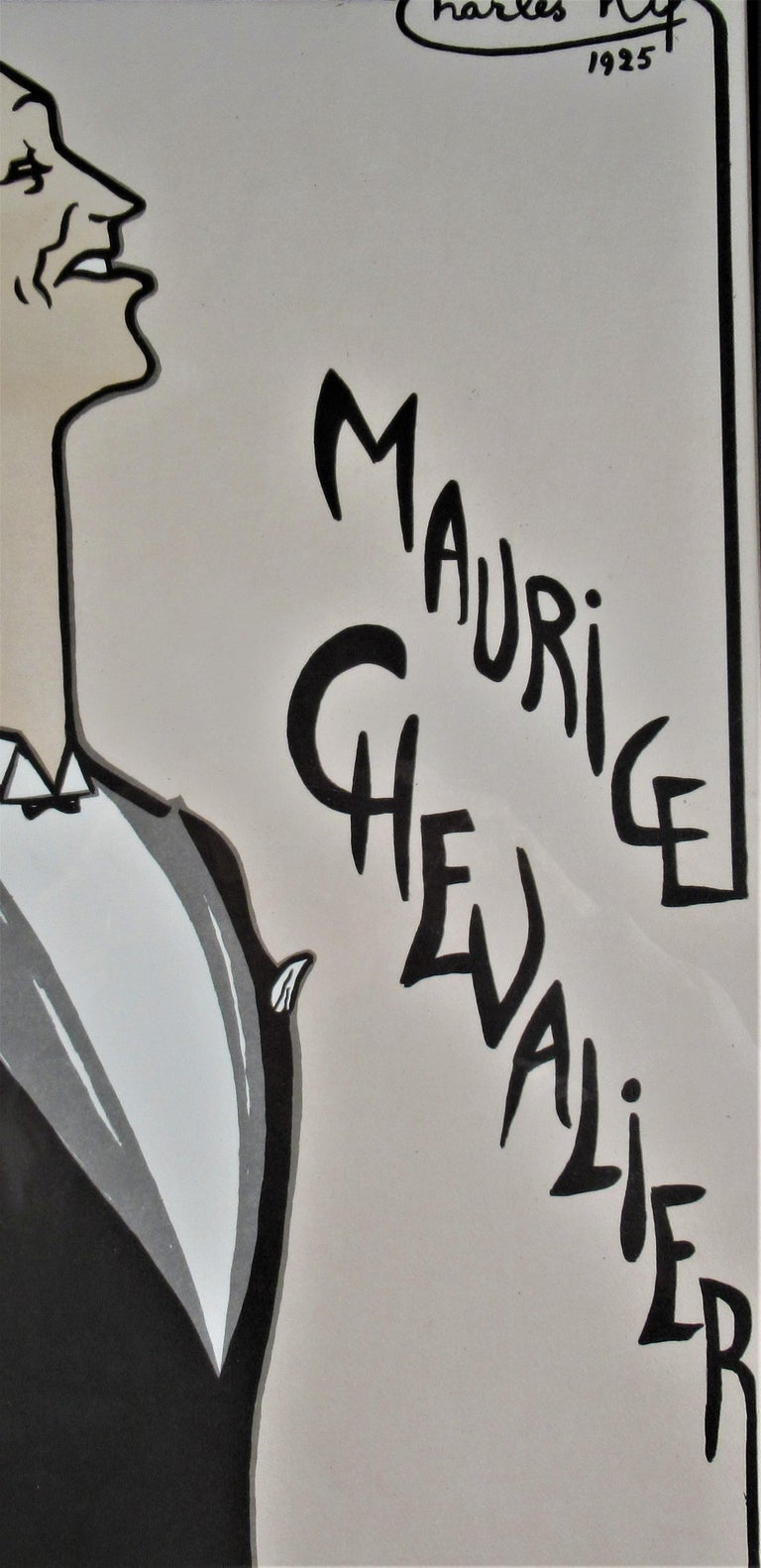 Maurice Chevalier, Casino de Paris  - Gray Figurative Print by Charles Kiffer