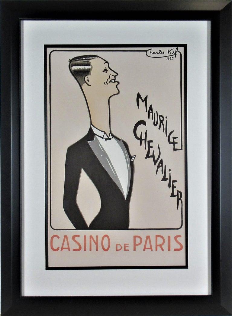 Charles Kiffer Figurative Print - Maurice Chevalier, Casino de Paris