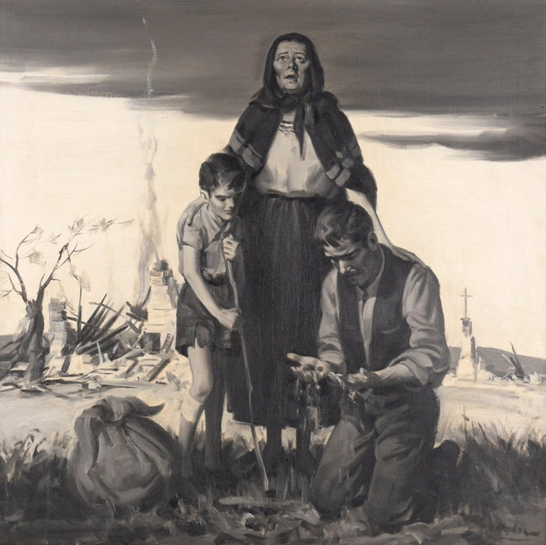 Devastation - Mid Century Figurative Illustration painting - Painting by Charles Kinghan
