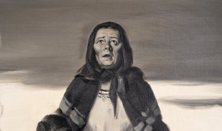 Devastation - Mid Century Figurative Illustration painting - American Impressionist Painting by Charles Kinghan