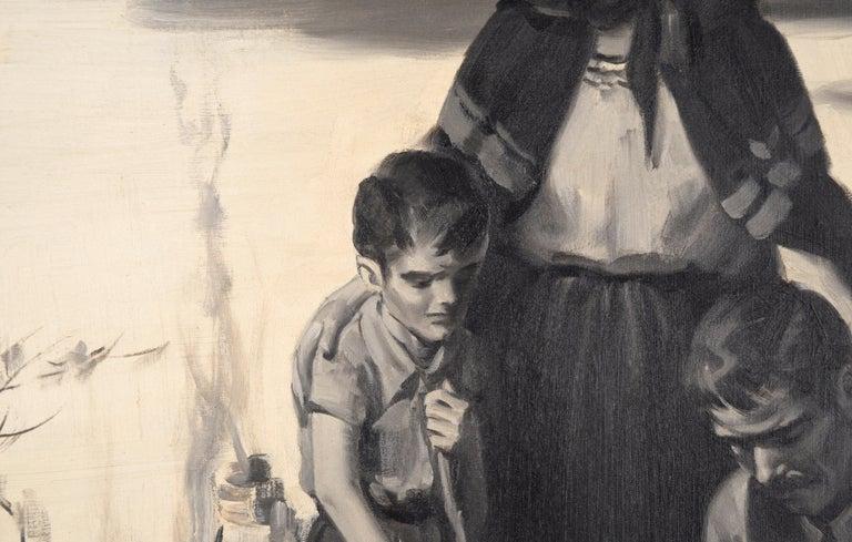 Devastation - Mid Century Figurative Illustration painting - Gray Interior Painting by Charles Kinghan