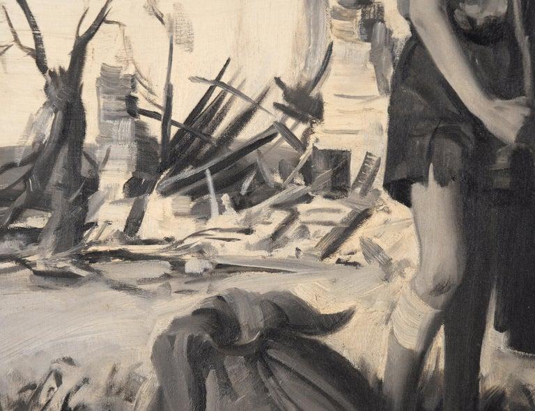 Devastation - Mid Century Figurative Illustration painting For Sale 1