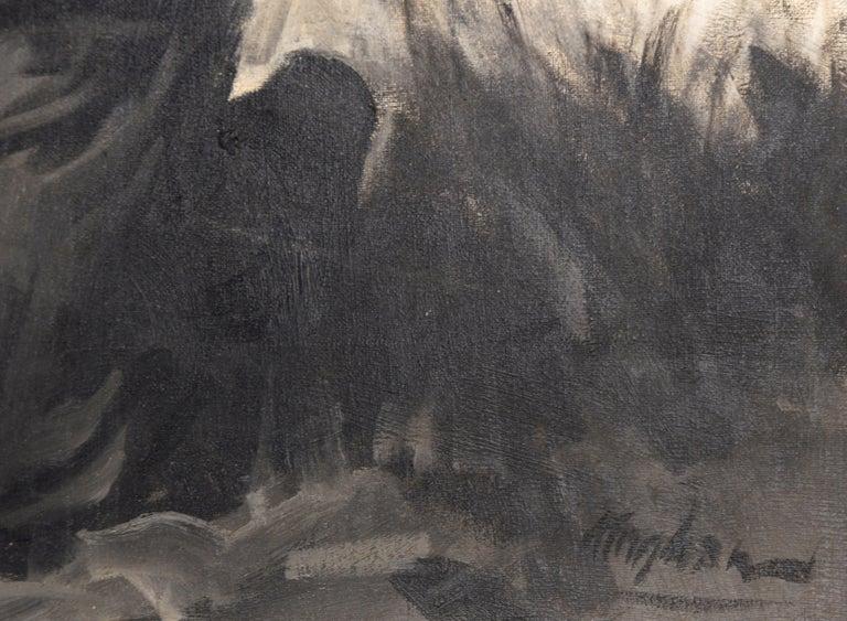 Devastation - Mid Century Figurative Illustration painting For Sale 2
