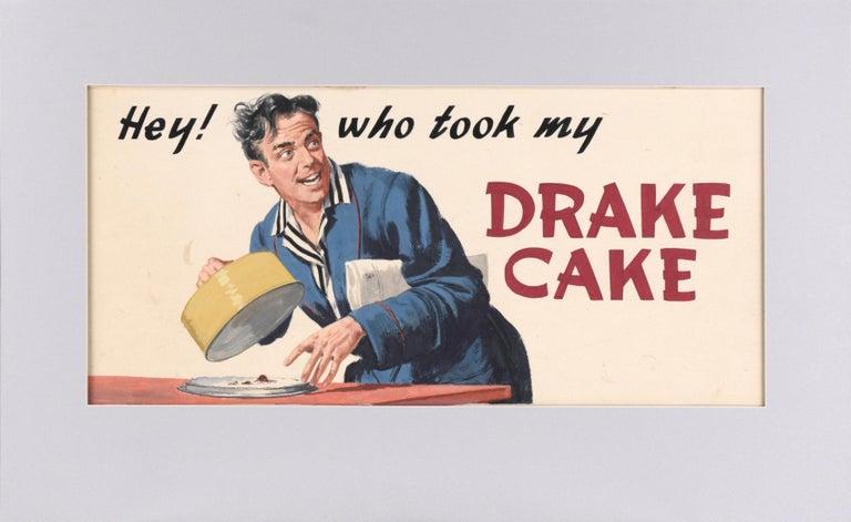 "Charles Kinghan Figurative Painting - ""Hey! who took my Drake Cake"" - Vintage Advertisement - Original Illustration"