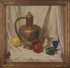 Vintage Still Life with Brass Vessel, Fruits and Vegetables