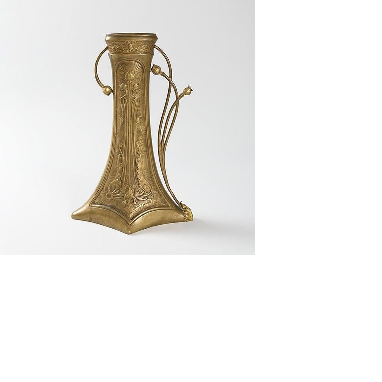 Gilt Charles Korschann French Art Nouveau Bronze Vase For Sale