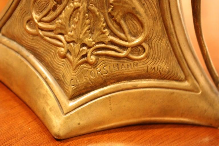 20th Century Charles Korschann French Art Nouveau Bronze Vase For Sale