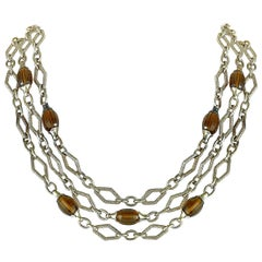 Charles Krypell 14 Karat White Gold and Silver Smoky Quartz Necklace