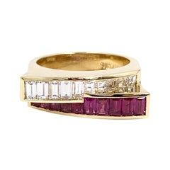 Charles Krypell 18 Karat Emerald and Ruby Modern Ring