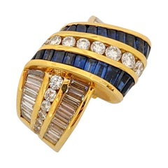 Charles Krypell 18 Karat Gold Ribbon Ring with Blue Sapphires and Diamonds