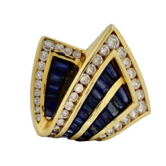 Charles Krypell 18 Karat Gold, Sapphire and Diamond Ring