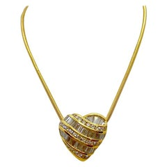 Charles Krypell 18 Karat Yellow Gold, 2.21 Carat Diamond Heart Pendant
