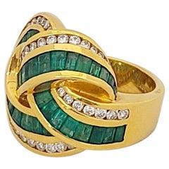 Charles Krypell 18 Karat Yellow Gold, 2.59 Carat Emeralds and Diamond Knot Ring