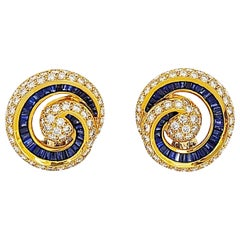 Charles Krypell 18 Karat Yellow Gold Diamond and Blue Sapphire Nautilus Earrings