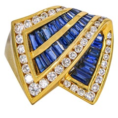 Charles Krypell 18 Karat Yellow Gold Sapphire Diamond Ring